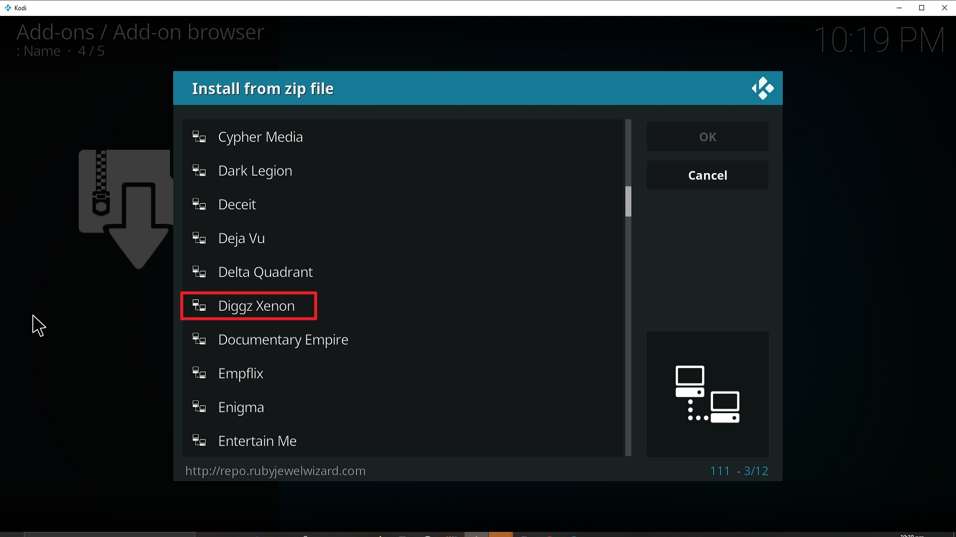 Step 17 Installing Diggz Xenon addon on Kodi