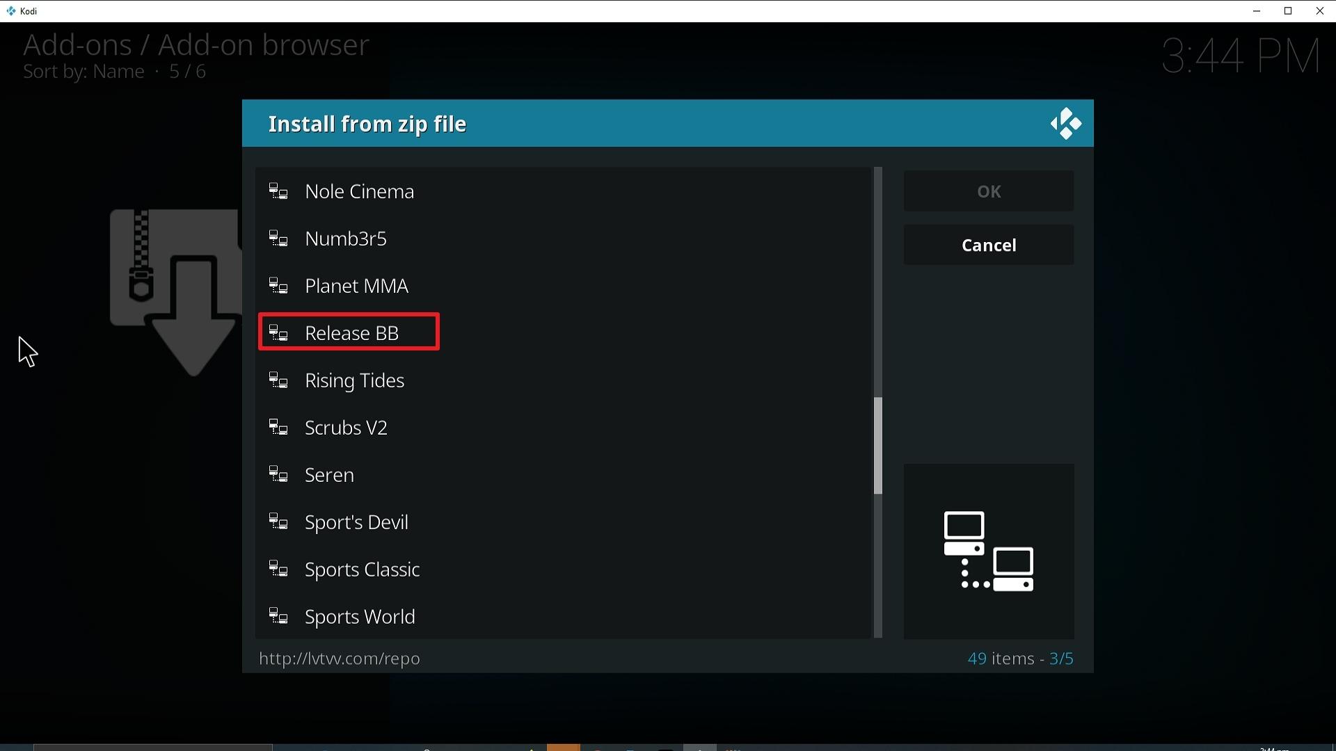 Step 17 Installing Release BB on Kodi