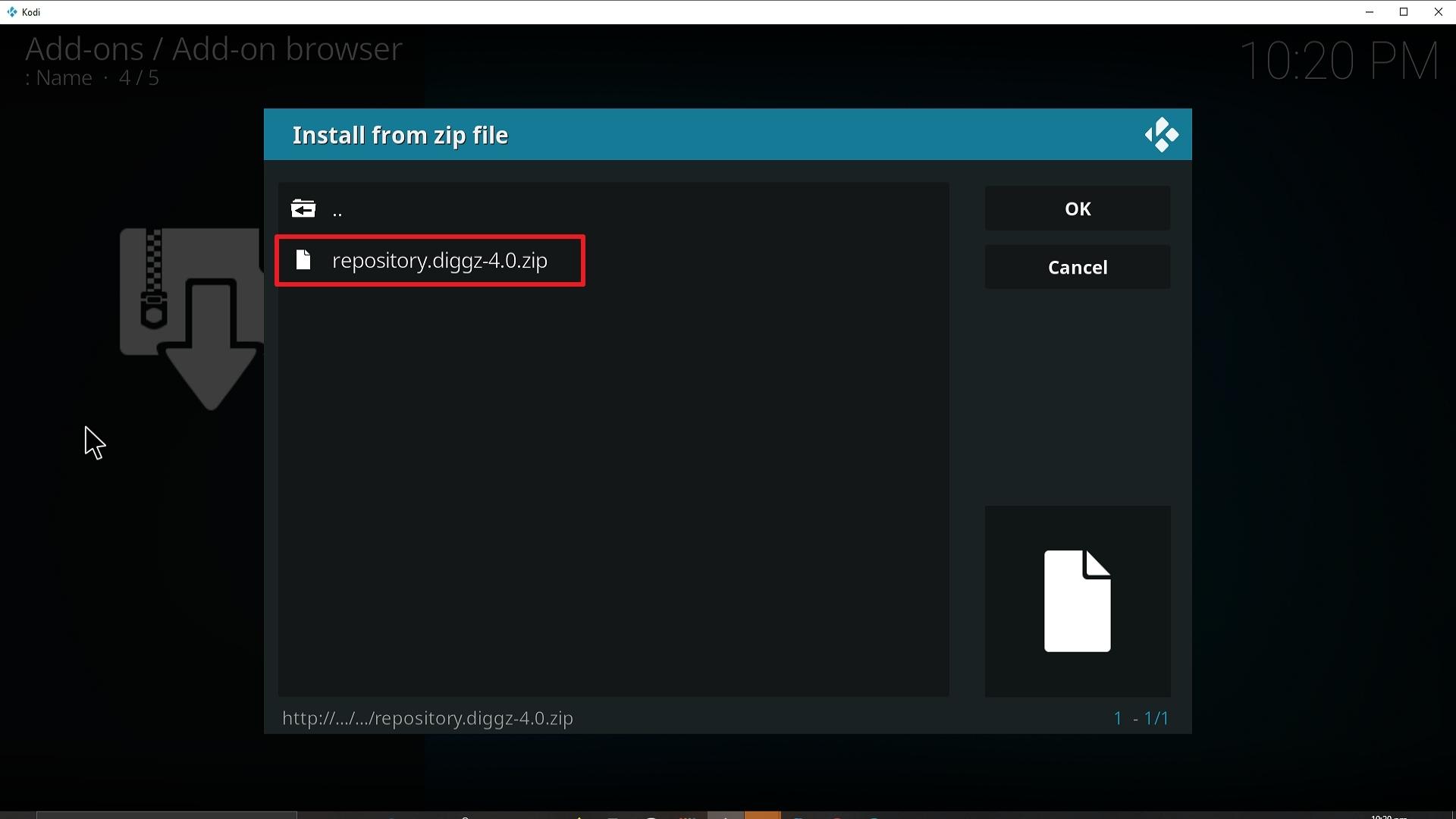 Step 19 Installing Diggz Xenon addon on Kodi