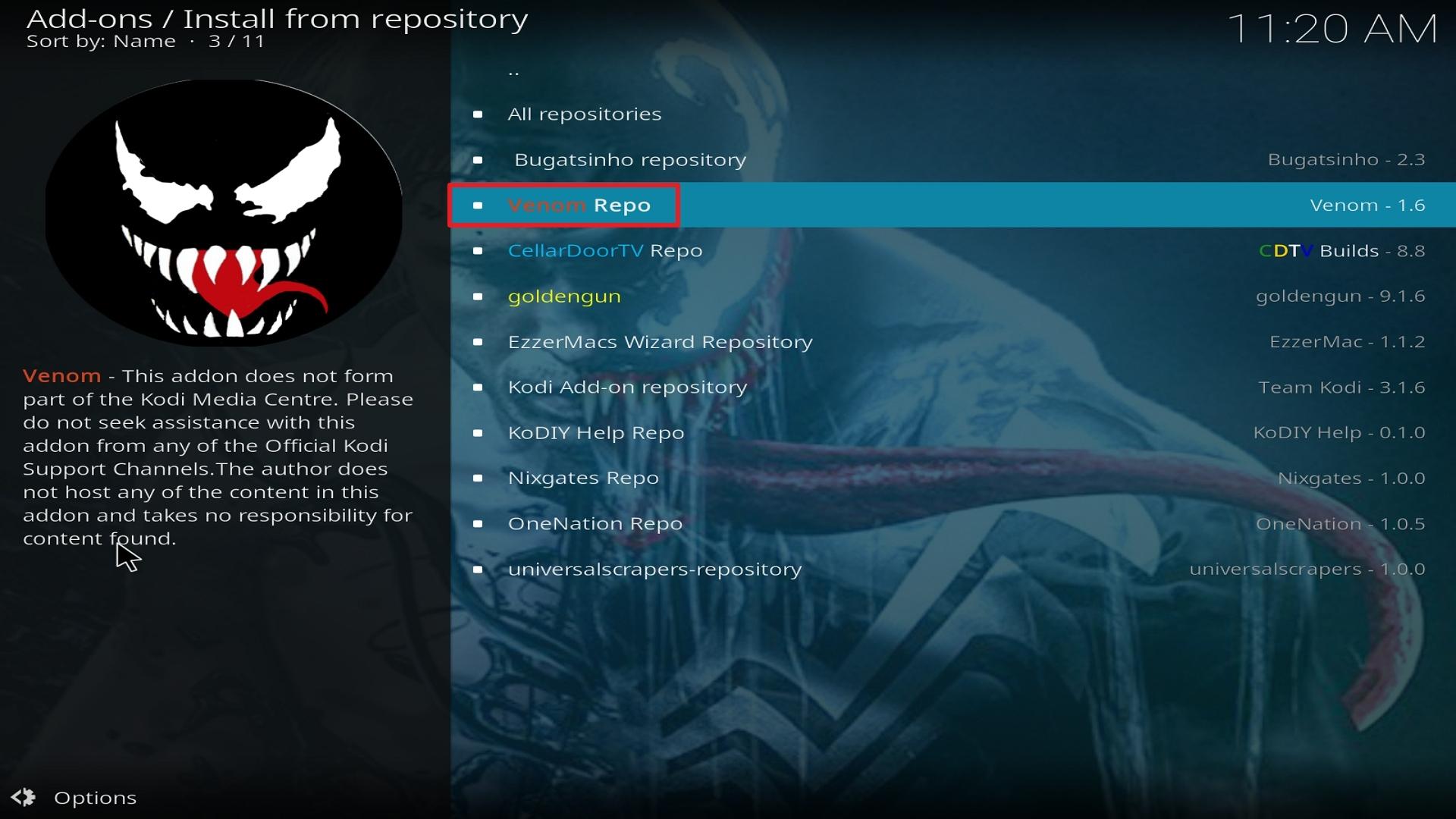 Step 20 Installing Venom on Kodi
