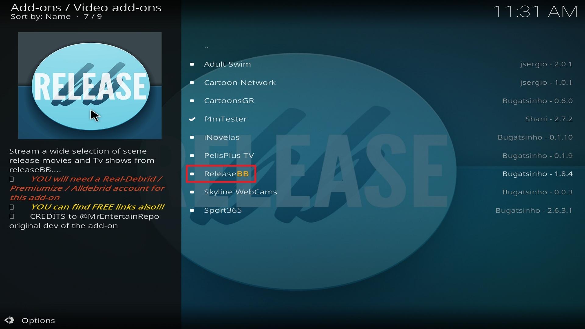 Step 22 Installing Release BB on Kodi