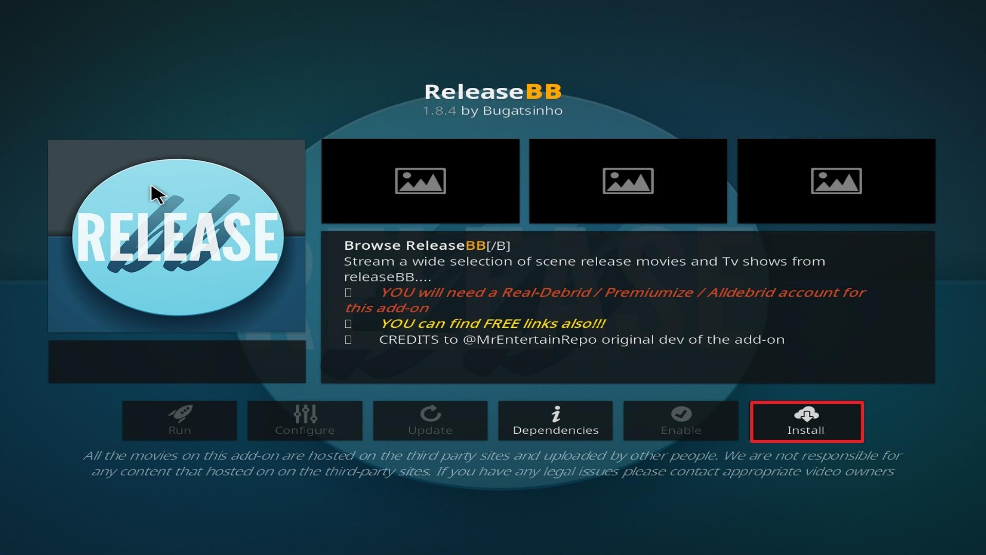 Step 23 Installing Release BB on Kodi