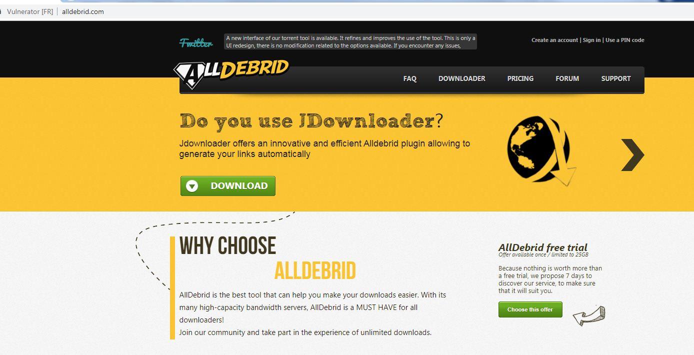 Alldebrid website image