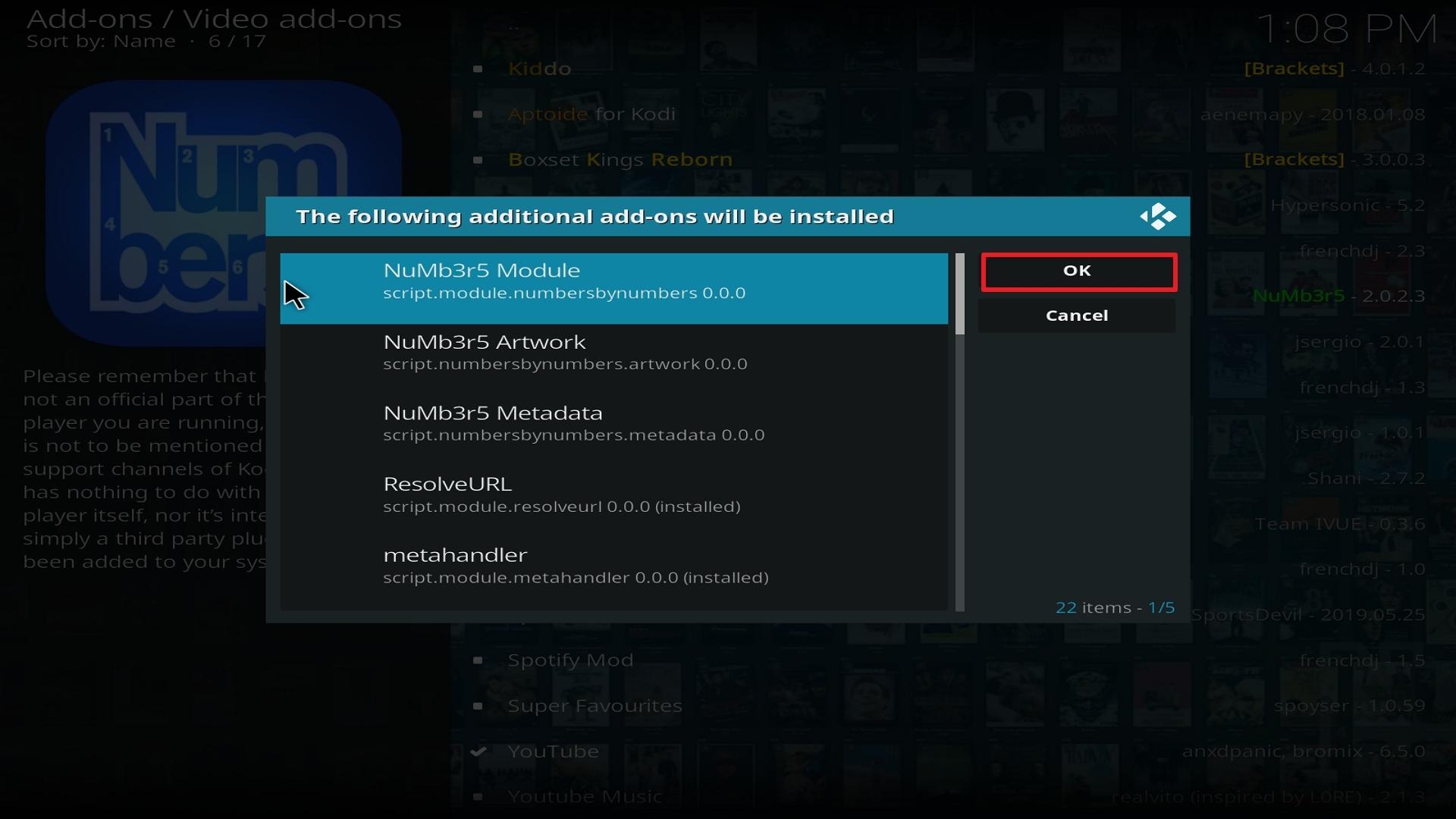 Step 24 Installing Numb3r5 on Kodi