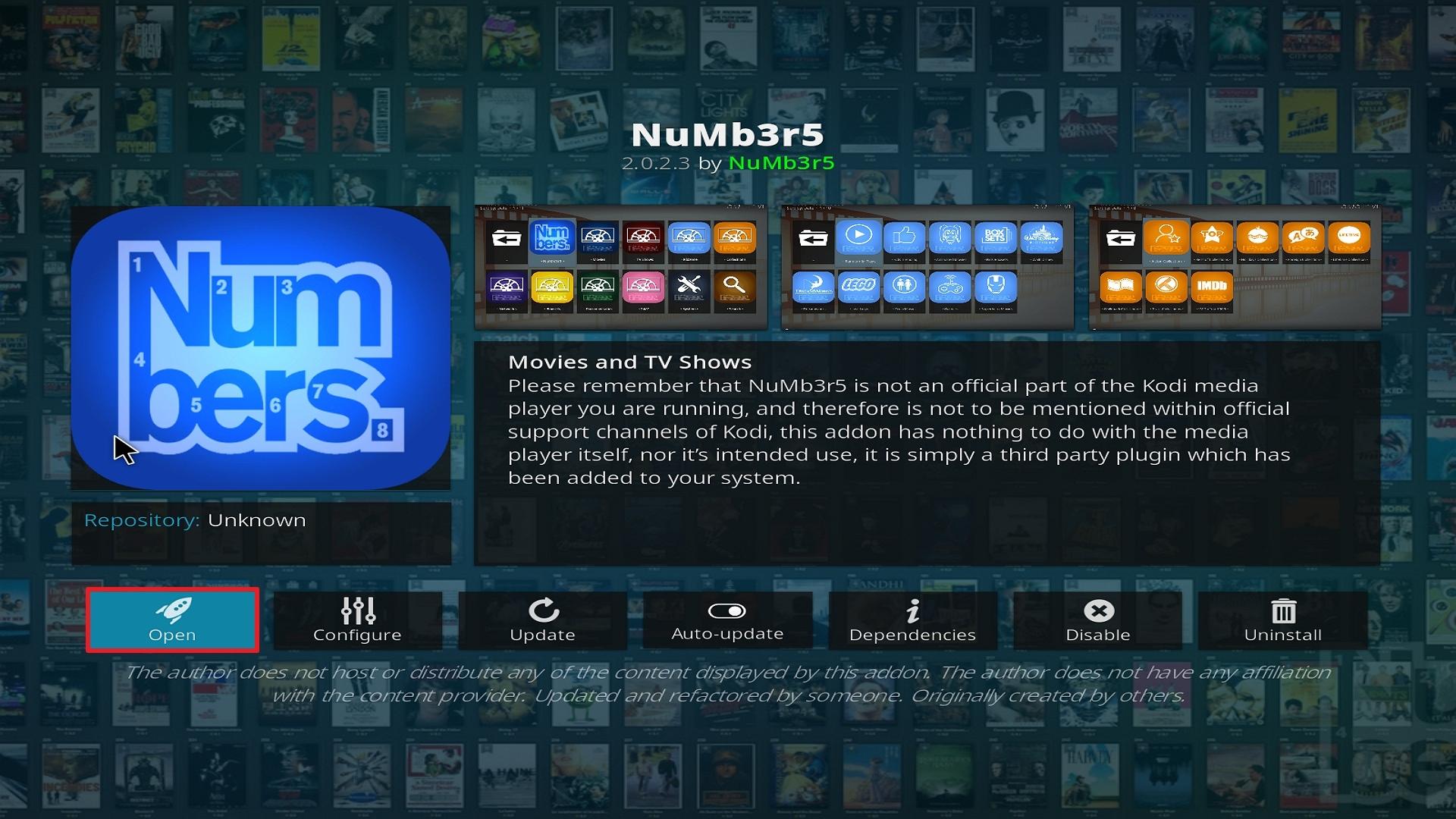 Step 26 Installing Numb3r5 on Kodi