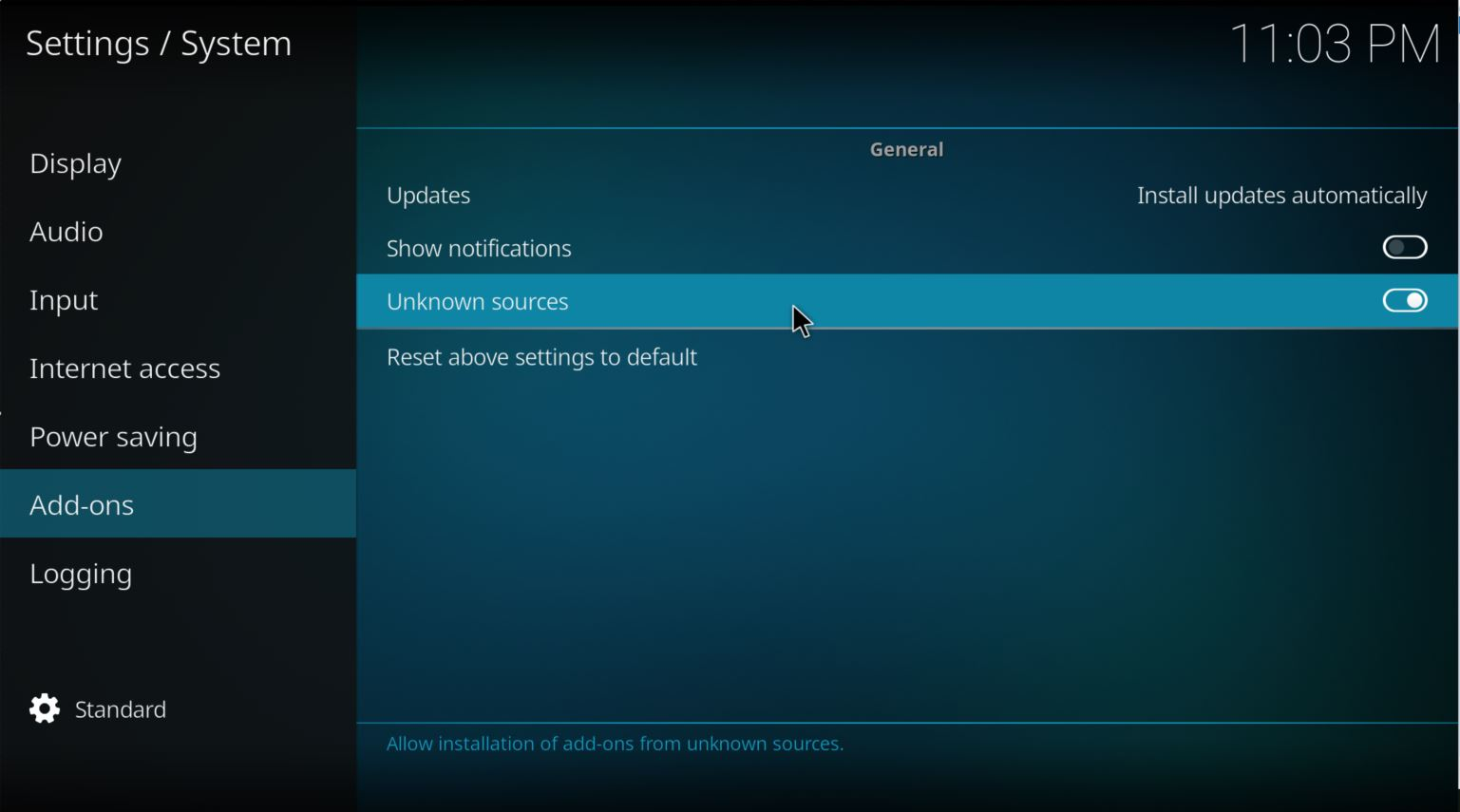 kodi - click on enable unknown sources