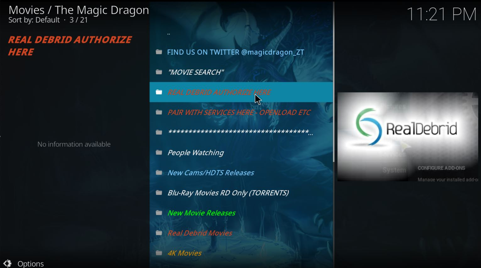kodi - the magic dragon add-on installed