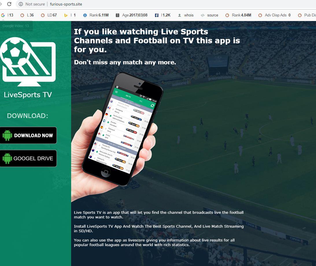 Live Sports TV Website Image