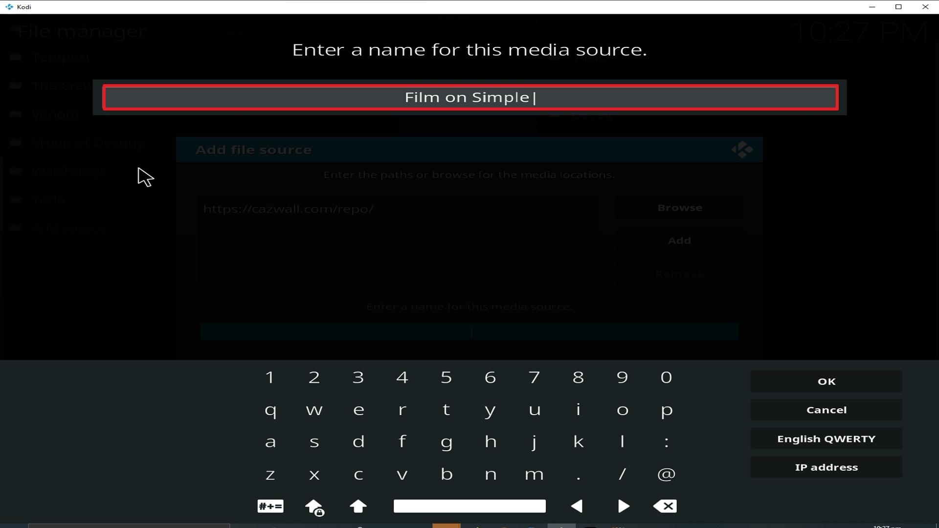 Step 12 Installing Film on Simple addon on Kodi