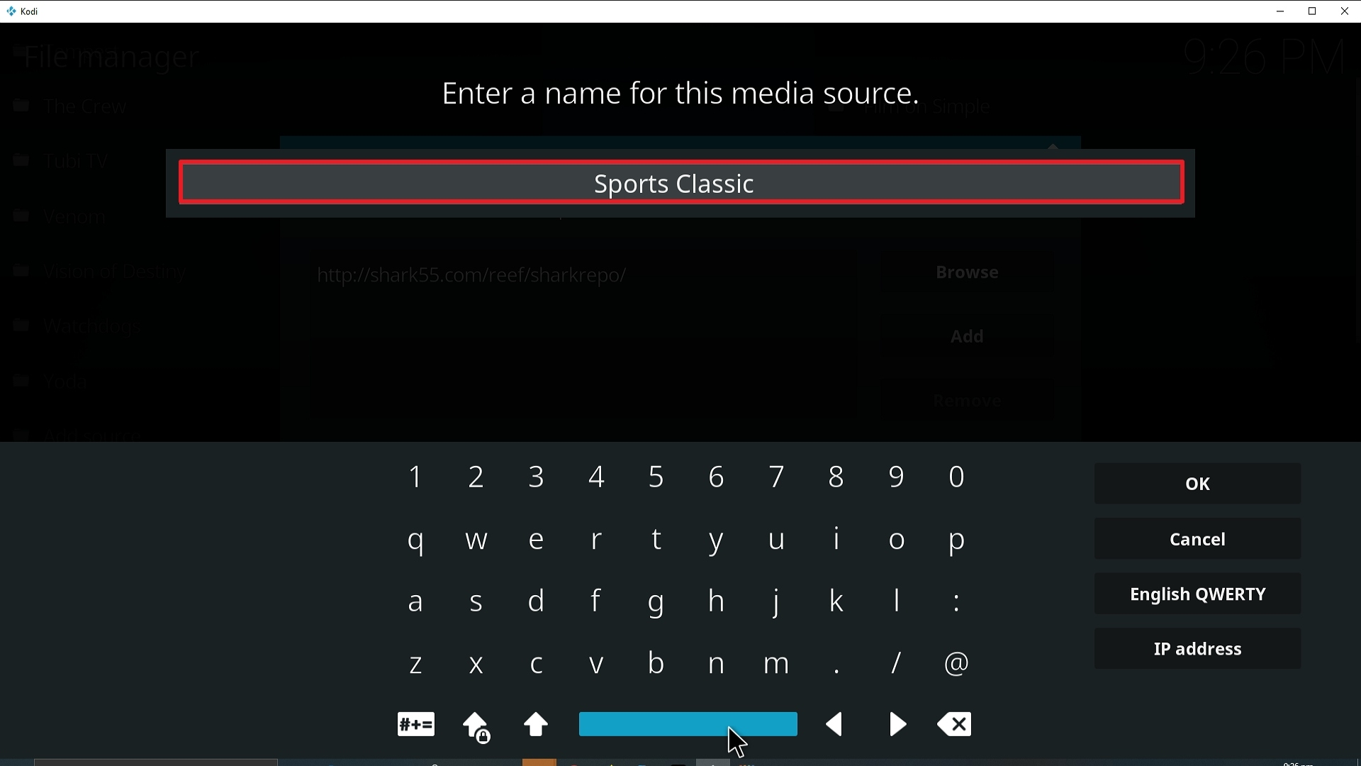 Step 12 Installing Sports Classic Kodi