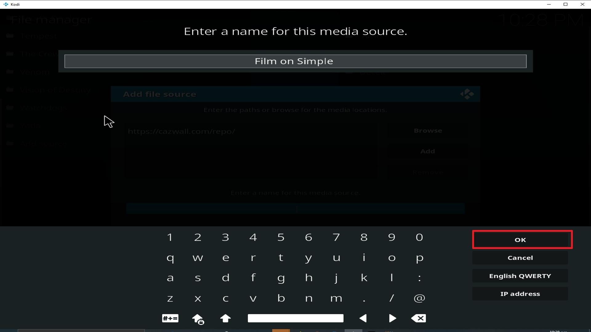 Step 13 Installing Film on Simple addon on Kodi