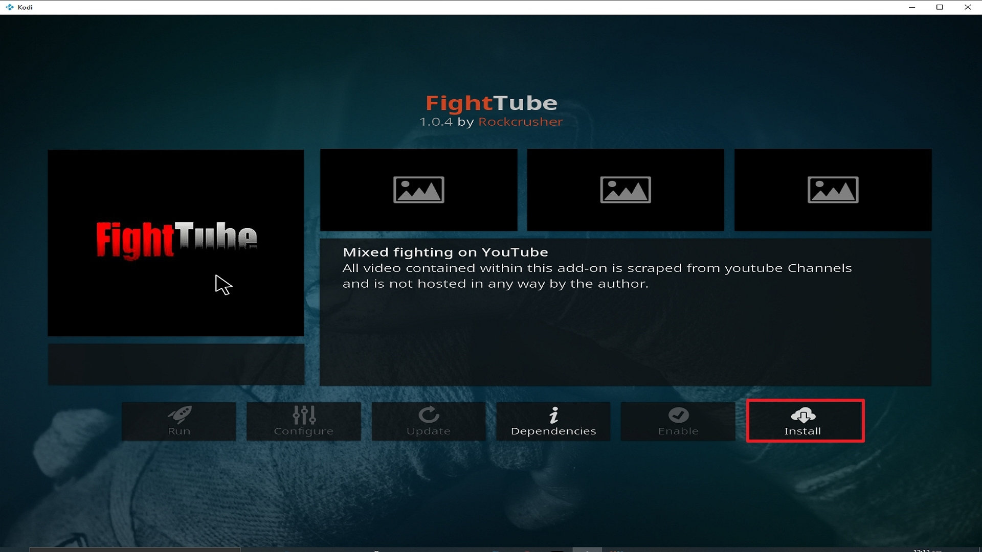 Step 23 Installing Fight Tube addon on Kodi
