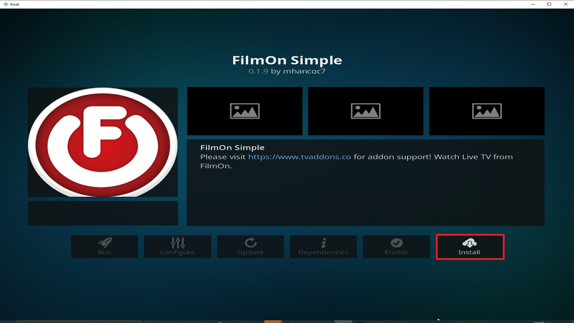 Step 24 Installing Film on Simple addon on Kodi