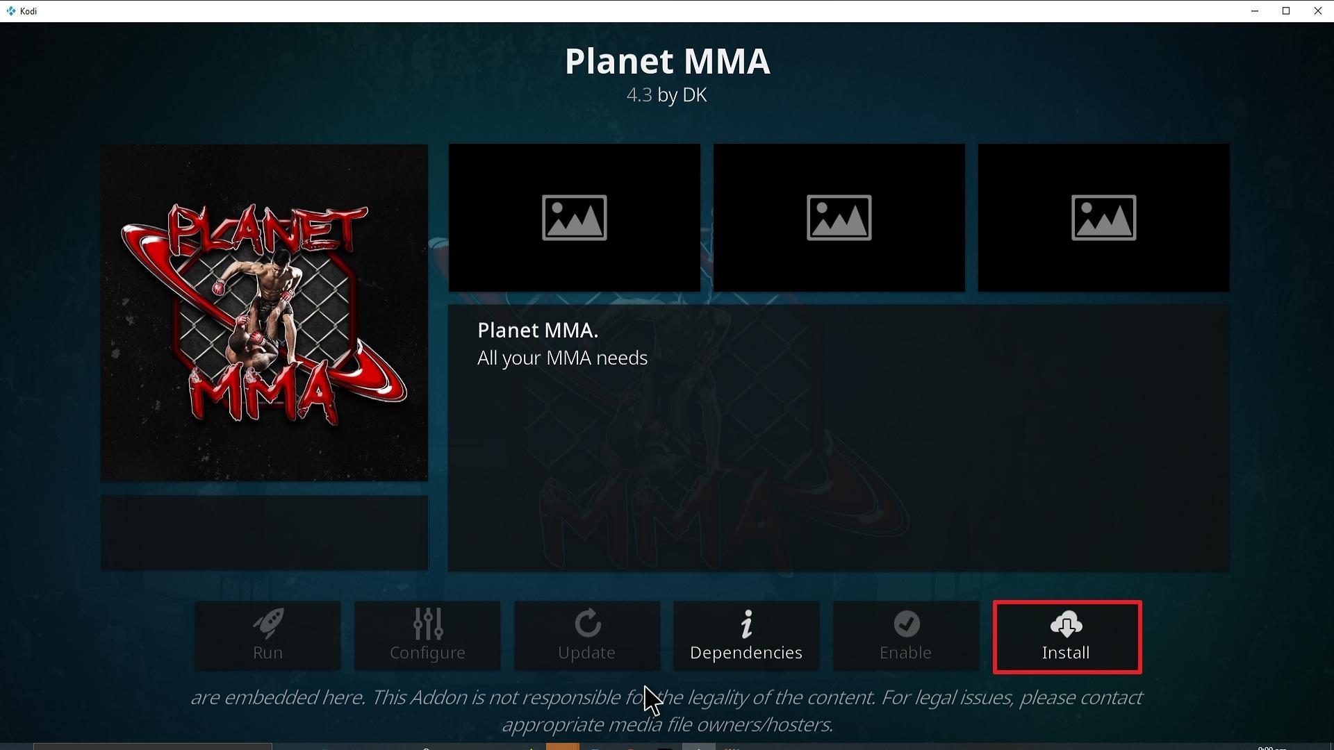 Step 24 Installing Planet MMA addon on Kodi