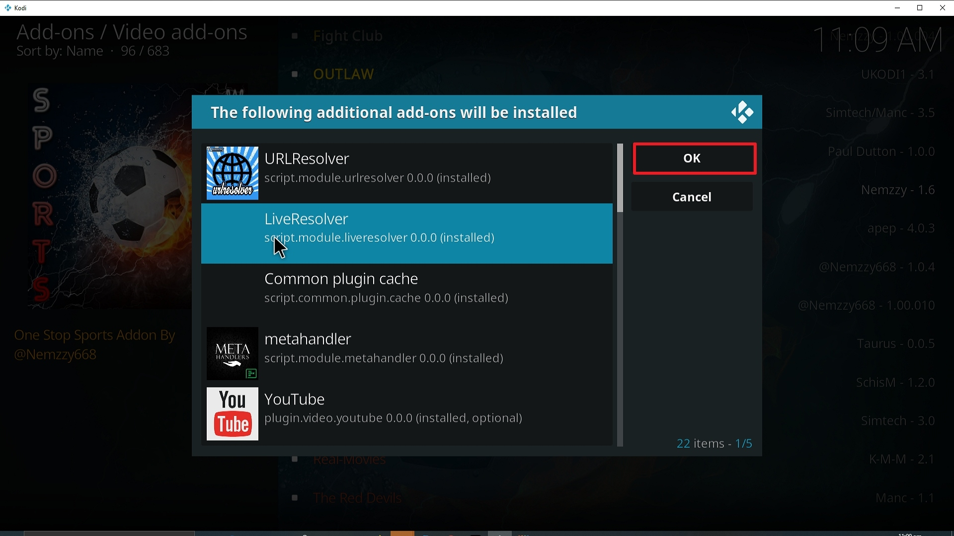 Step 24 Installing Sports World addon on Kodi