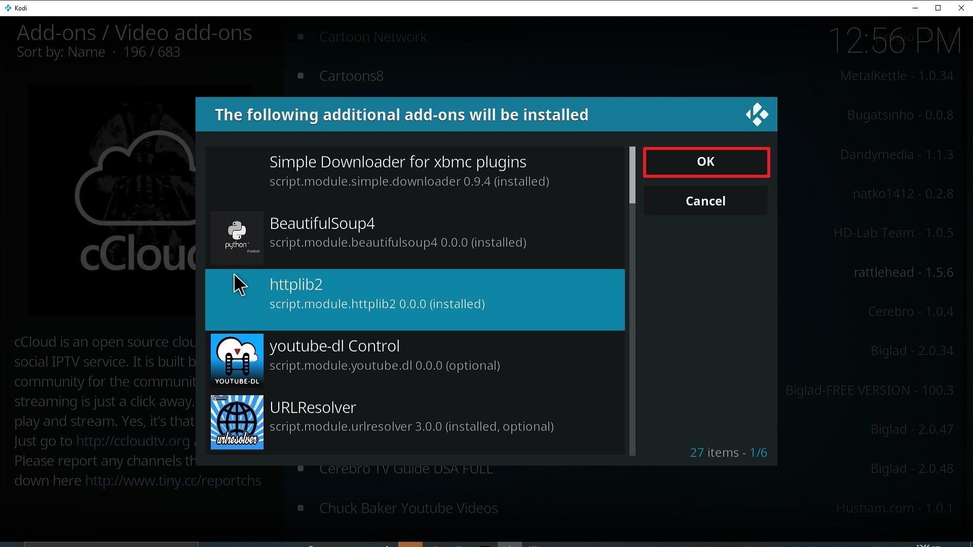 Step 25 Installing cCloud Kodi addon on Kodi