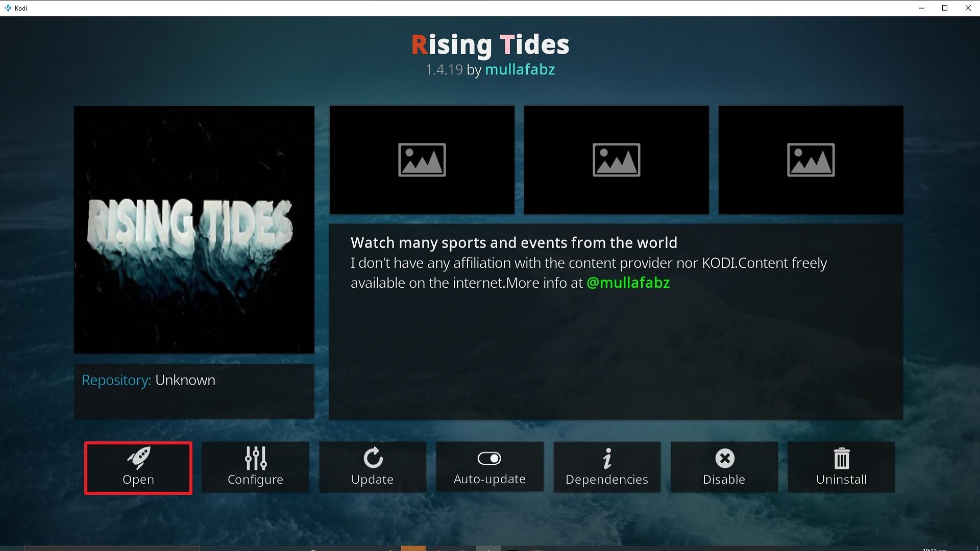 Step 26 Installing Rising Tides addon on Kodi