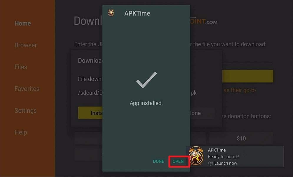 Step 14 Install APK Time on Firestick