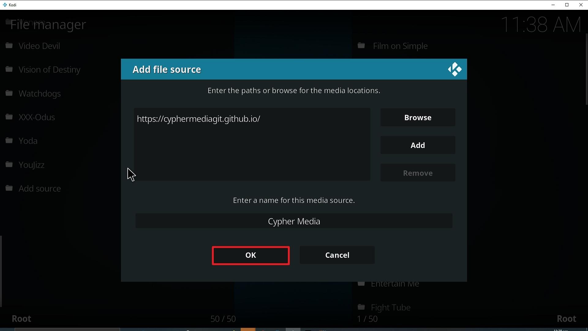 Step 14 Installing Cypher Media Kodi addon on Kodi