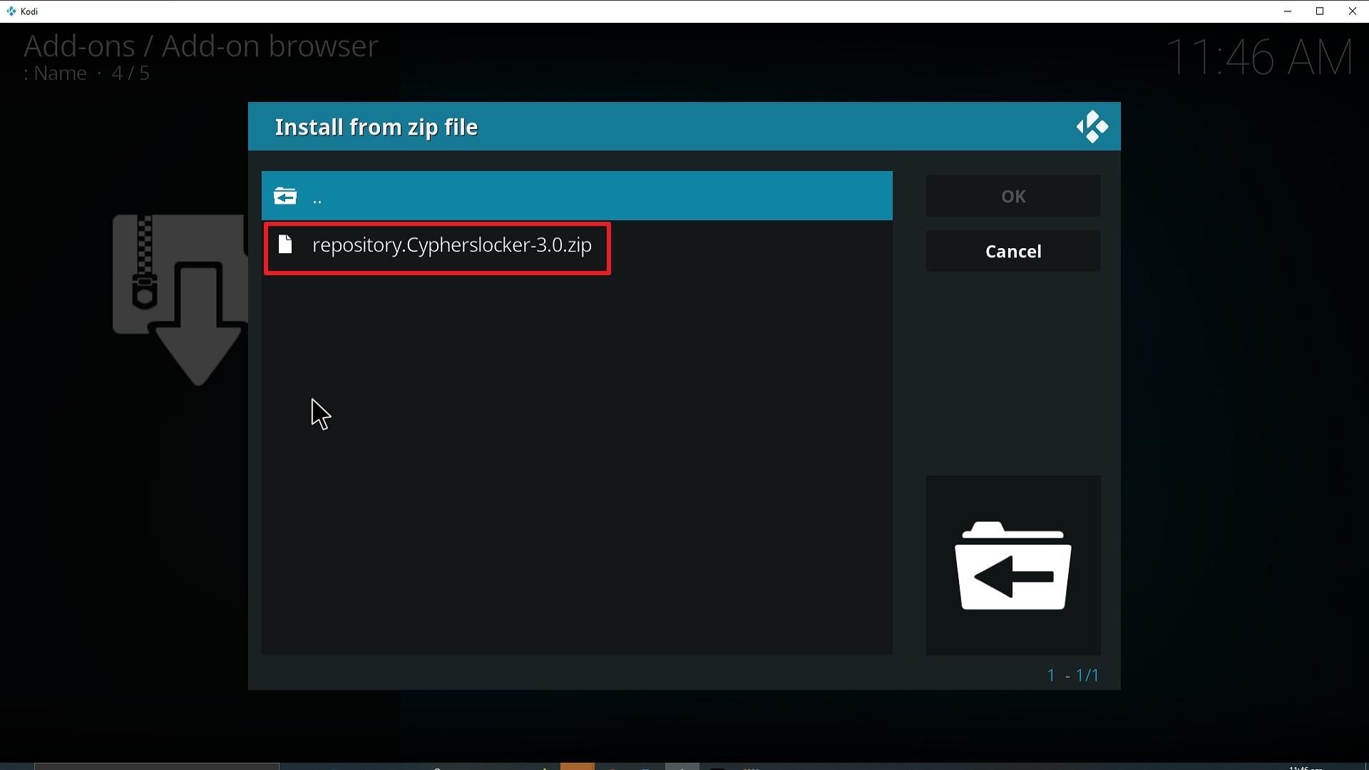 Step 18 Installing Cypher Media Kodi addon on Kodi