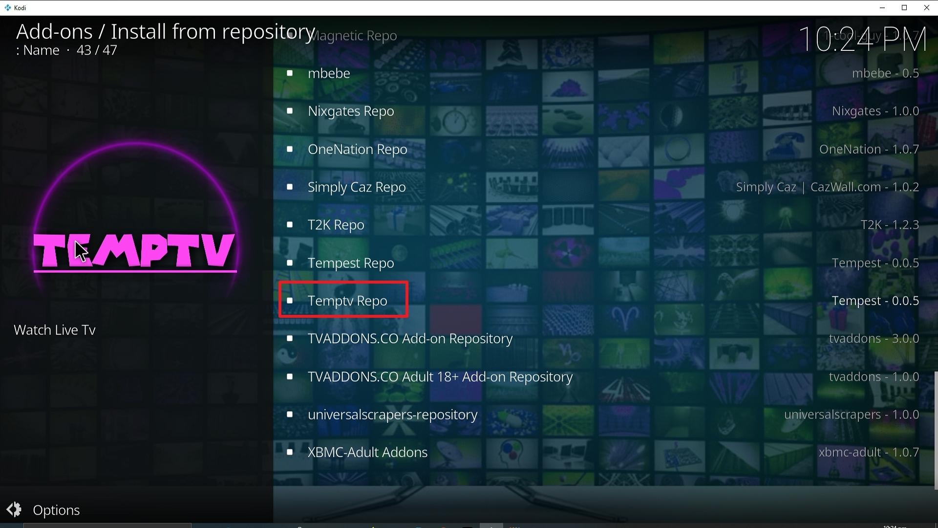 Step 20 Installing TempTV Kodi addon on Kodi