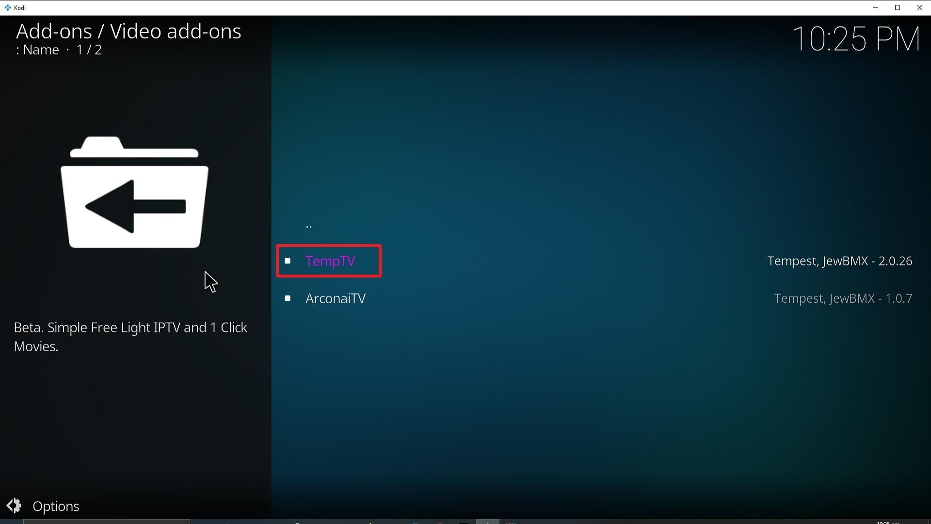 Step 22 Installing TempTV Kodi addon on Kodi