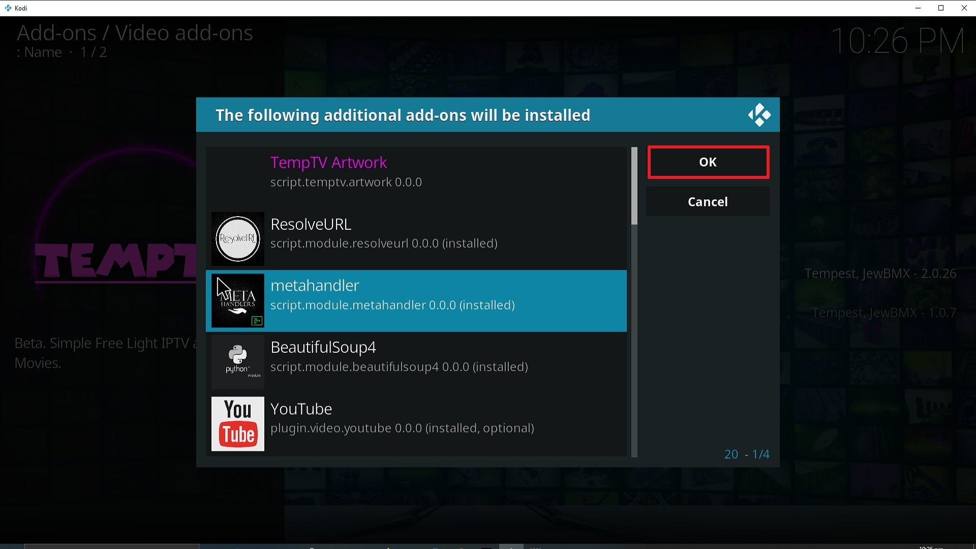 Step 24 Installing TempTV Kodi addon on Kodi