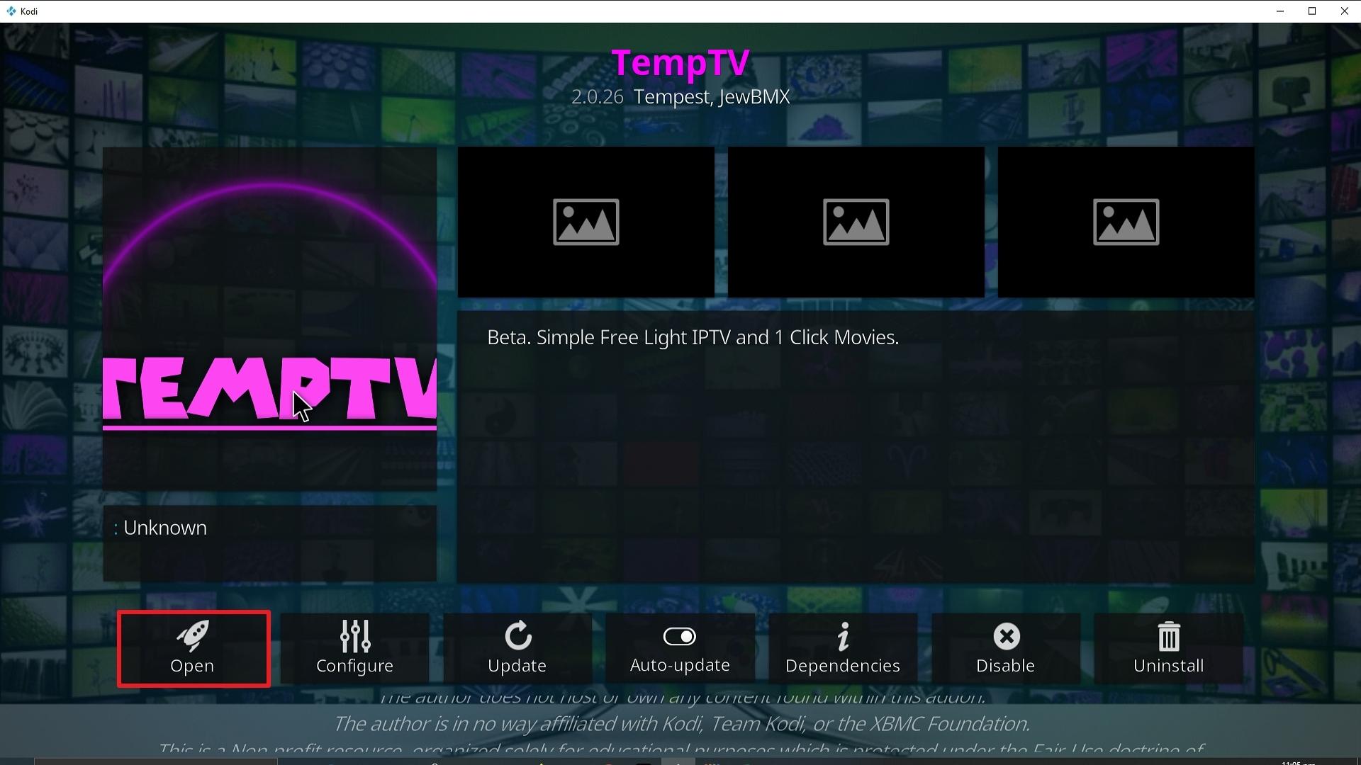 Step 26 Installing TemptTV Kodi addon on Kodi