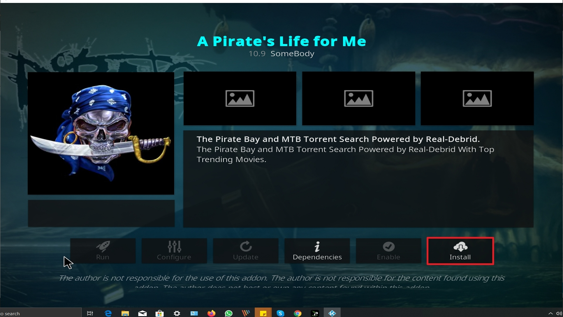Step 23 Installing A Pirate's Life For Me addon on Kodi