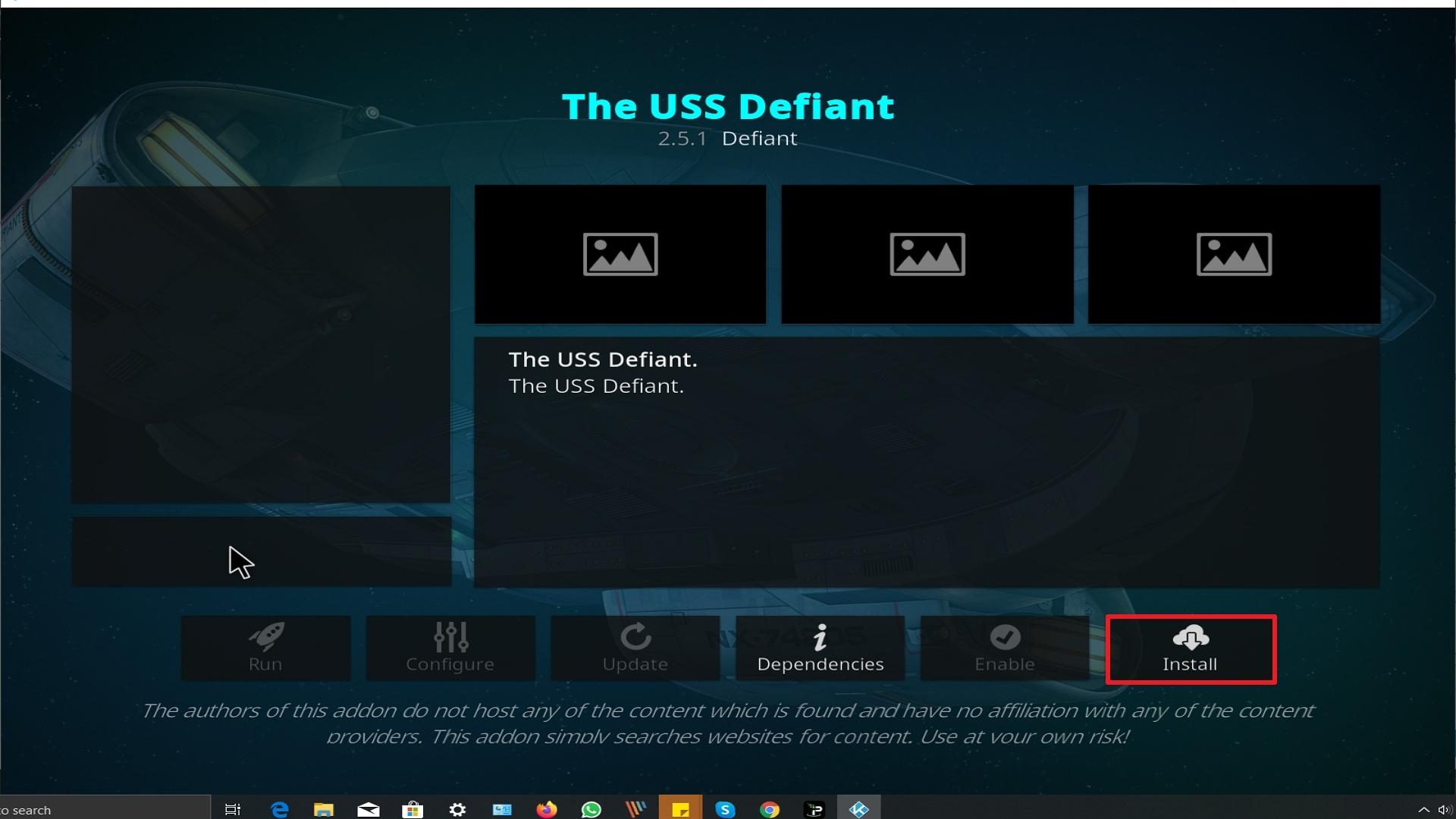 Step 23 Installing The Uss Defiant addon on Kodi