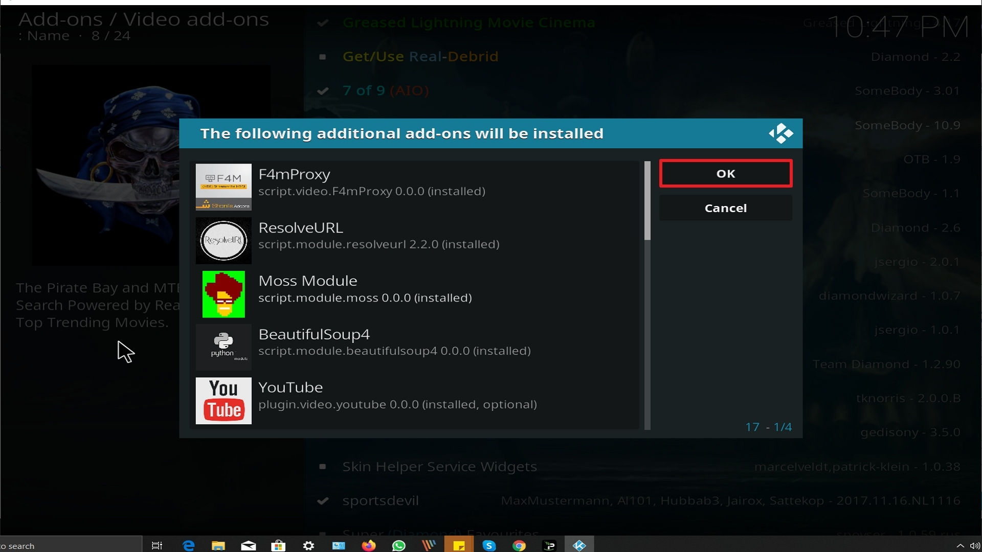 Step 24 Installing A Pirate's Life For Me addon on Kodi