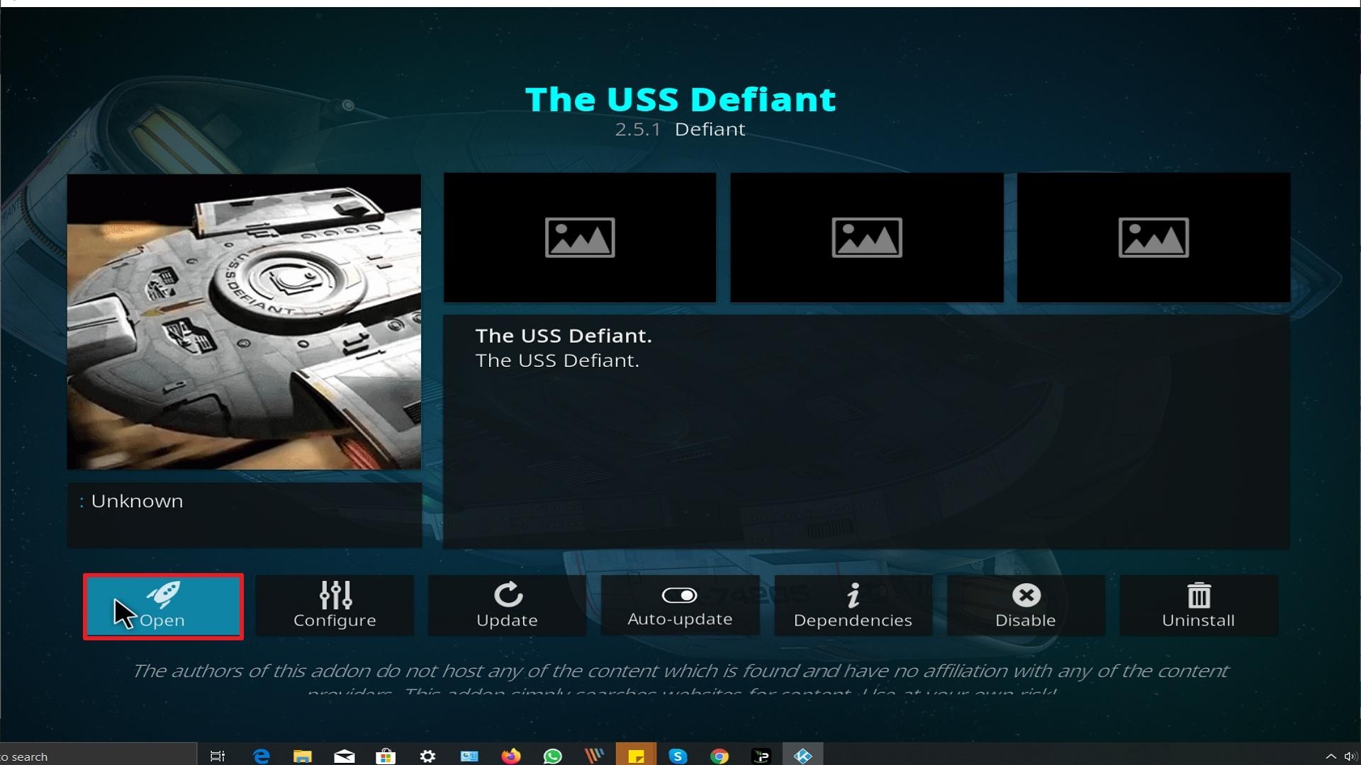 Step 26 Installing The Uss Defiant addon on Kodi