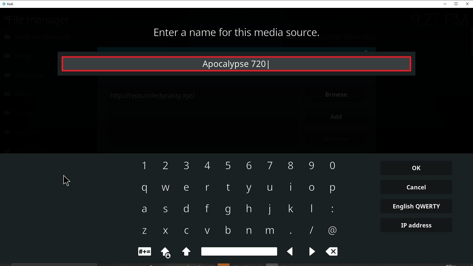 Step 12 Installing Apocalypse 720 addon on Kodi