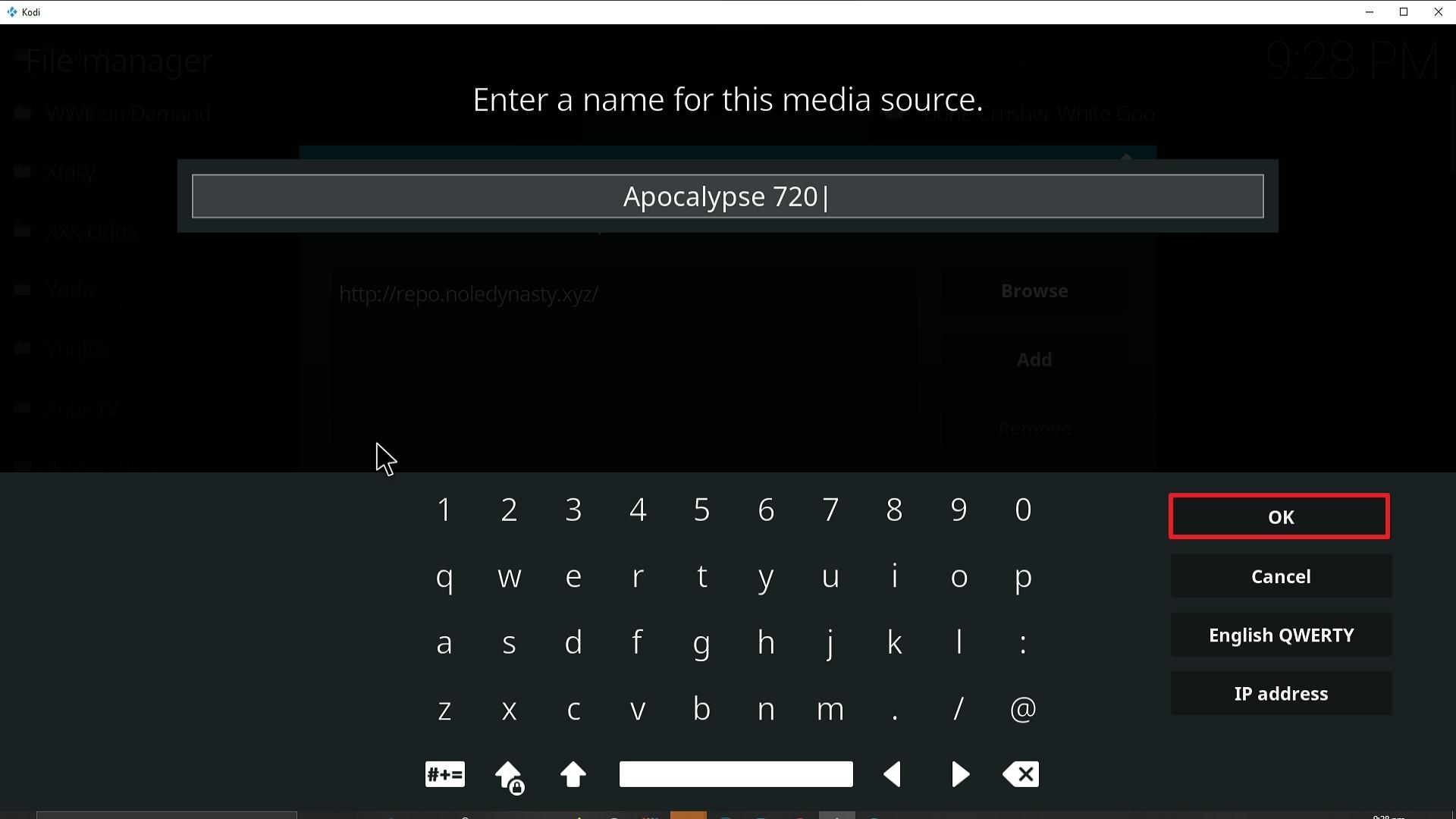 Step 13 Installing Apocalypse 720 addon on Kodi