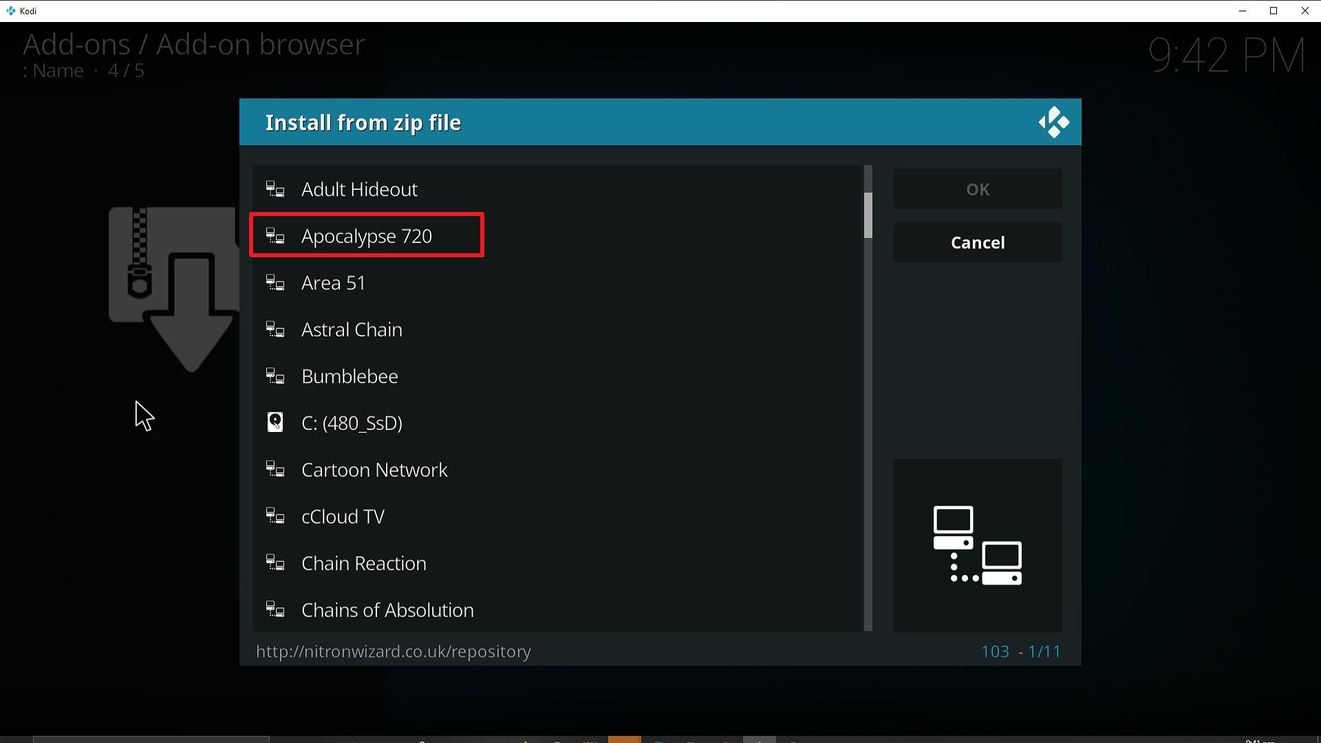 Step 17 Installing Apocalypse 720 addon on Kodi