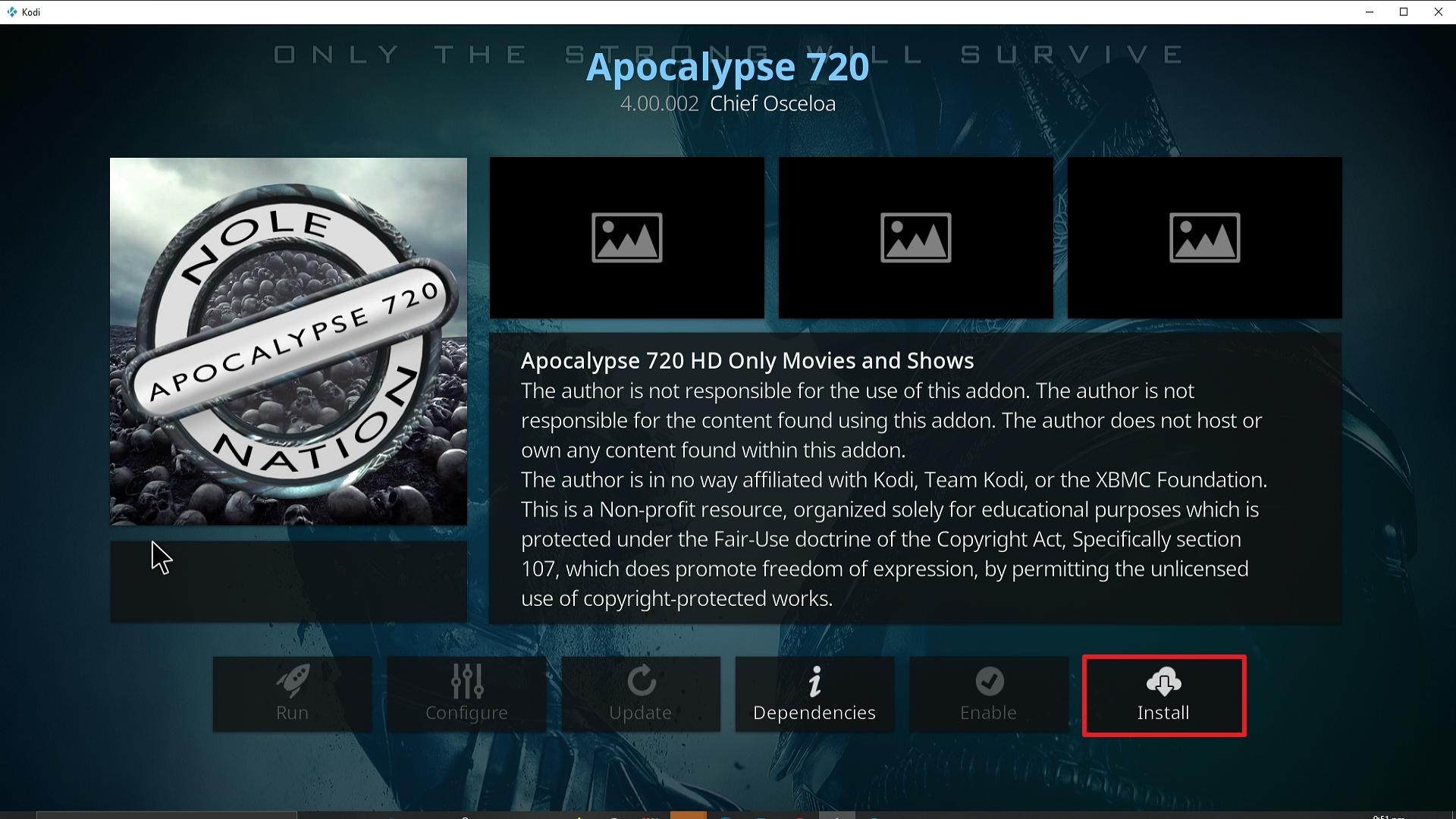 Step 23 Installing Apocalypse 720 addon on Kodi