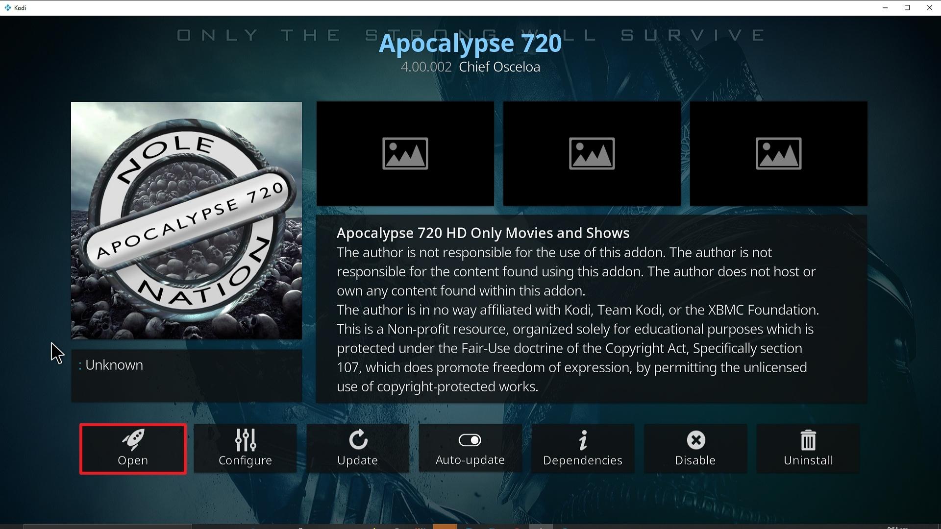 Step 26 Installing Apocalypse 720 addon on Kodi