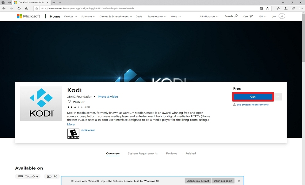 Step 4 Install Kodi from the Microsoft Store