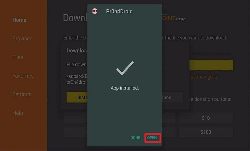 Step 14 Install Pron4droid Porn App on Firestick