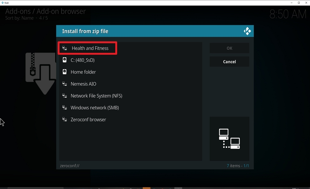 Step 16 Install Health and Fitness on kodi