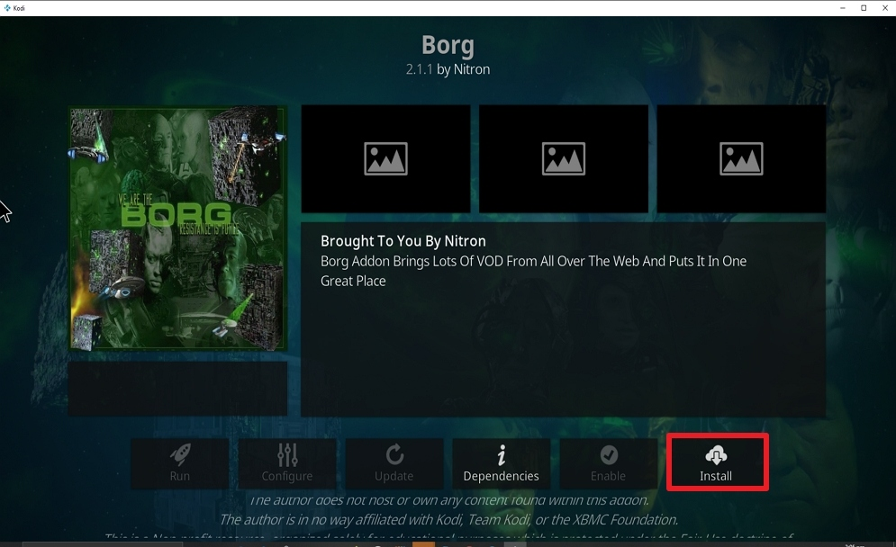 Step 23 Install Borg on kodi