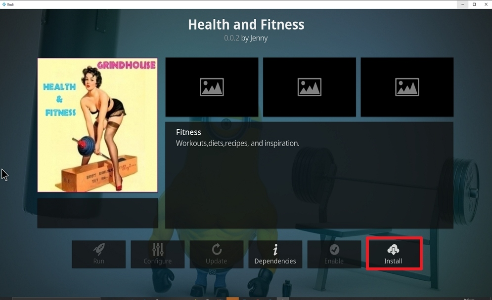 Step 23 Install Health and Fitness on kodi