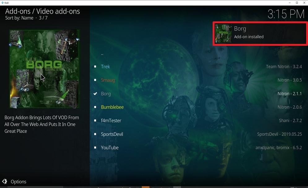 Step 25 Install Borg on kodi