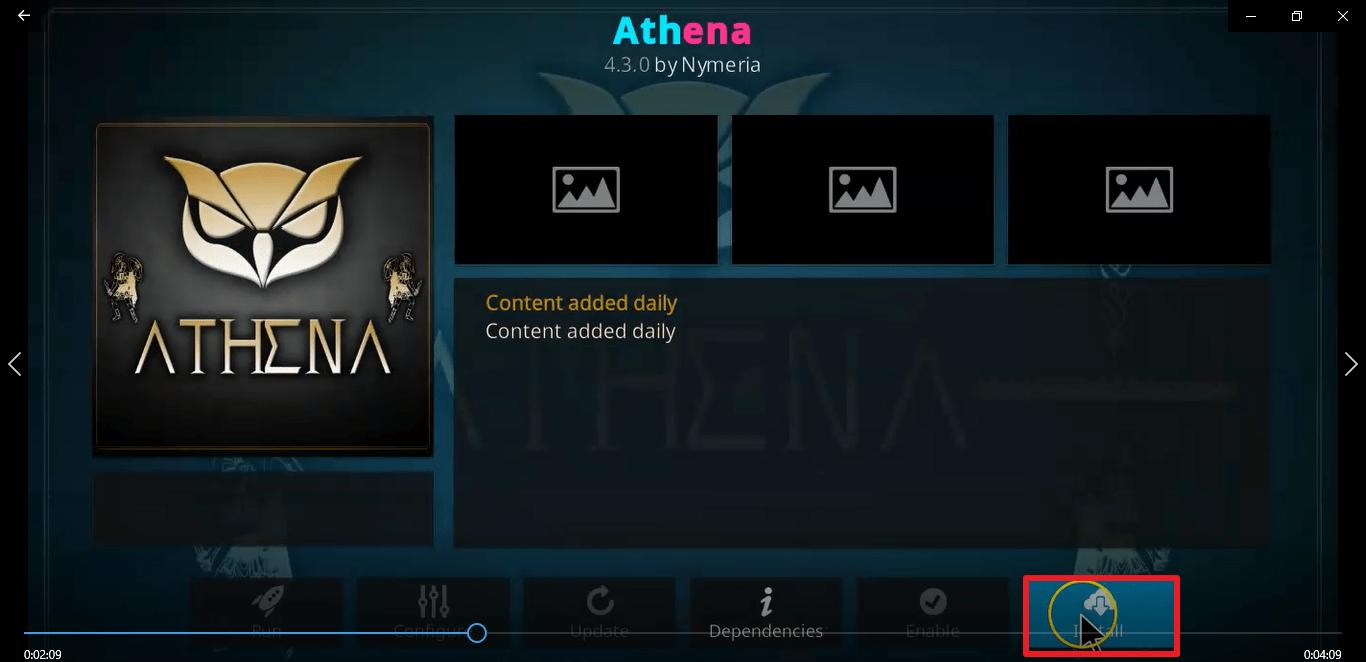 Step 24 Install Athena kodi addon
