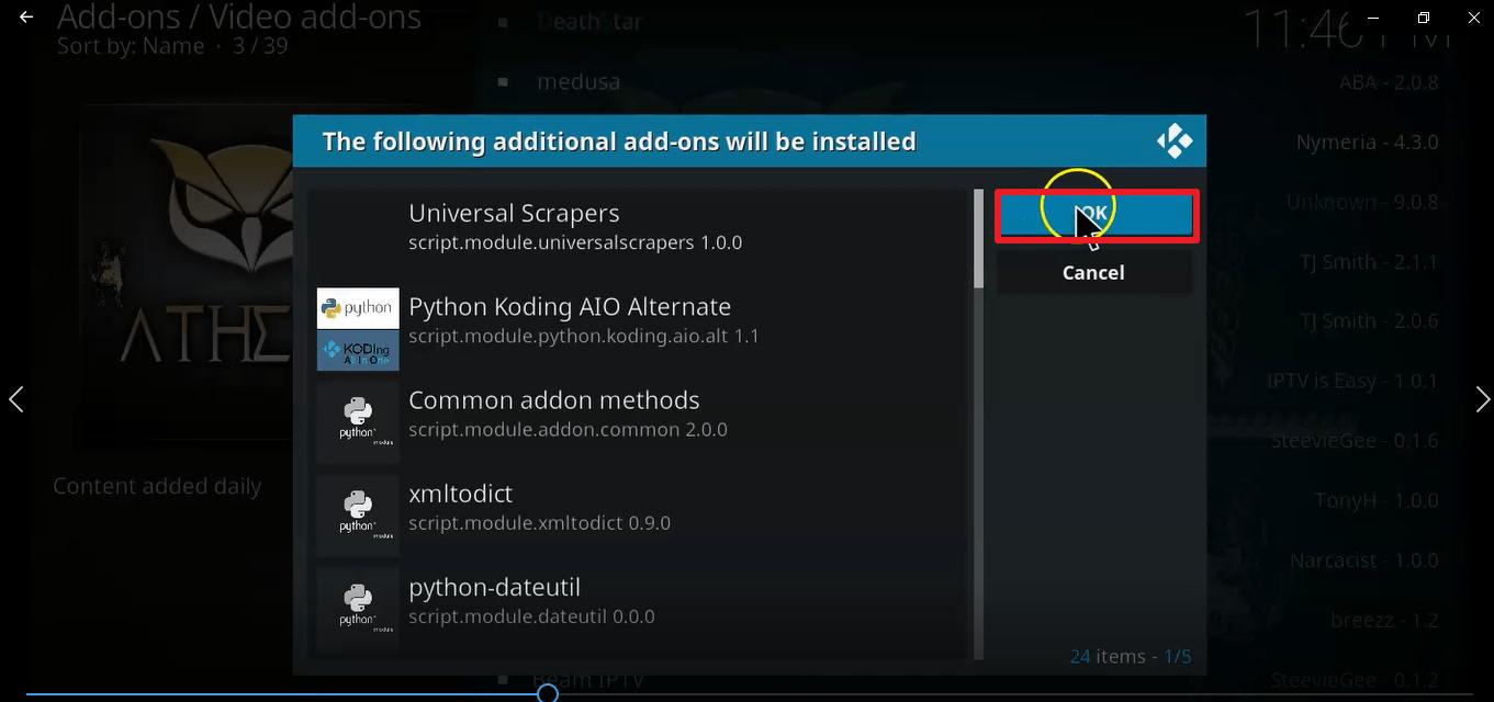 Step 25 Install Athena kodi addon