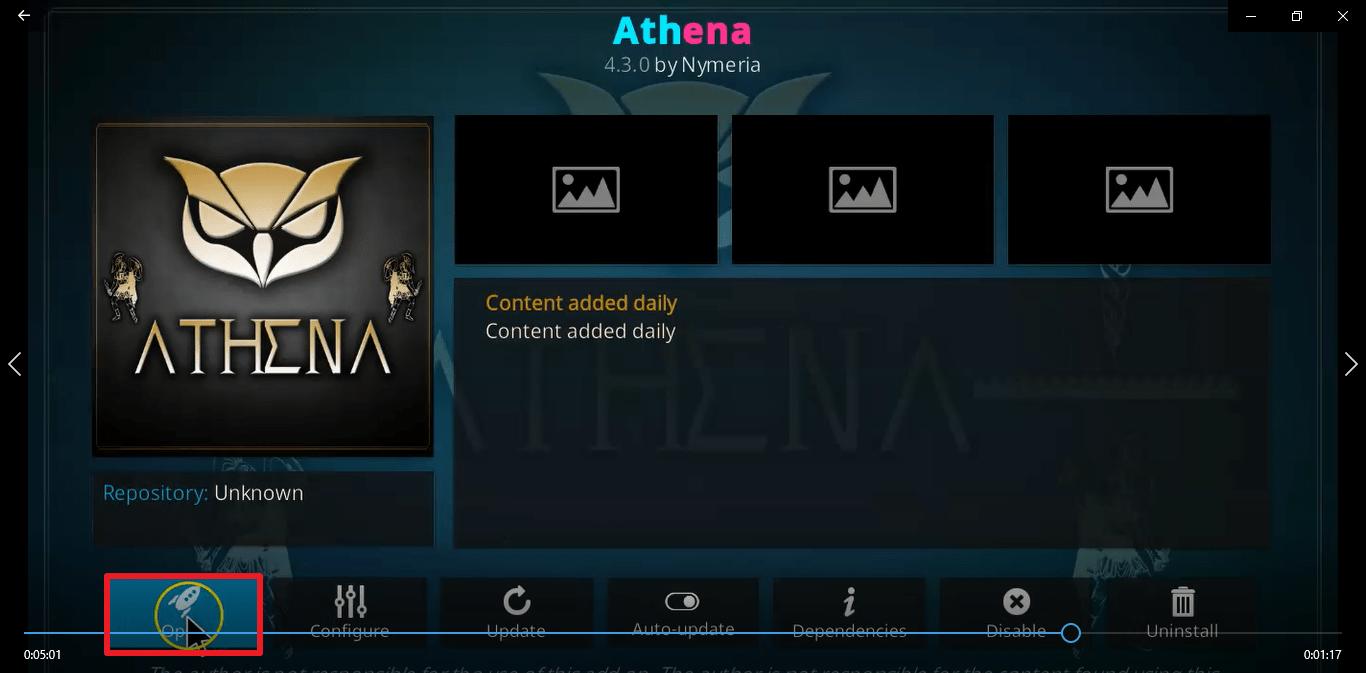 Step 26 Install Athena kodi addon